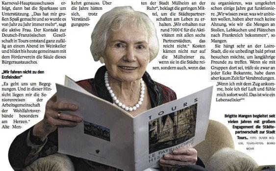 Article dans le journal de la WAZ sur le jumelage Tours-Mülheim an der Ruhr